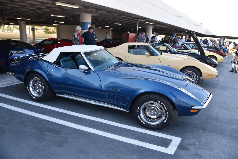 row of Corvettes