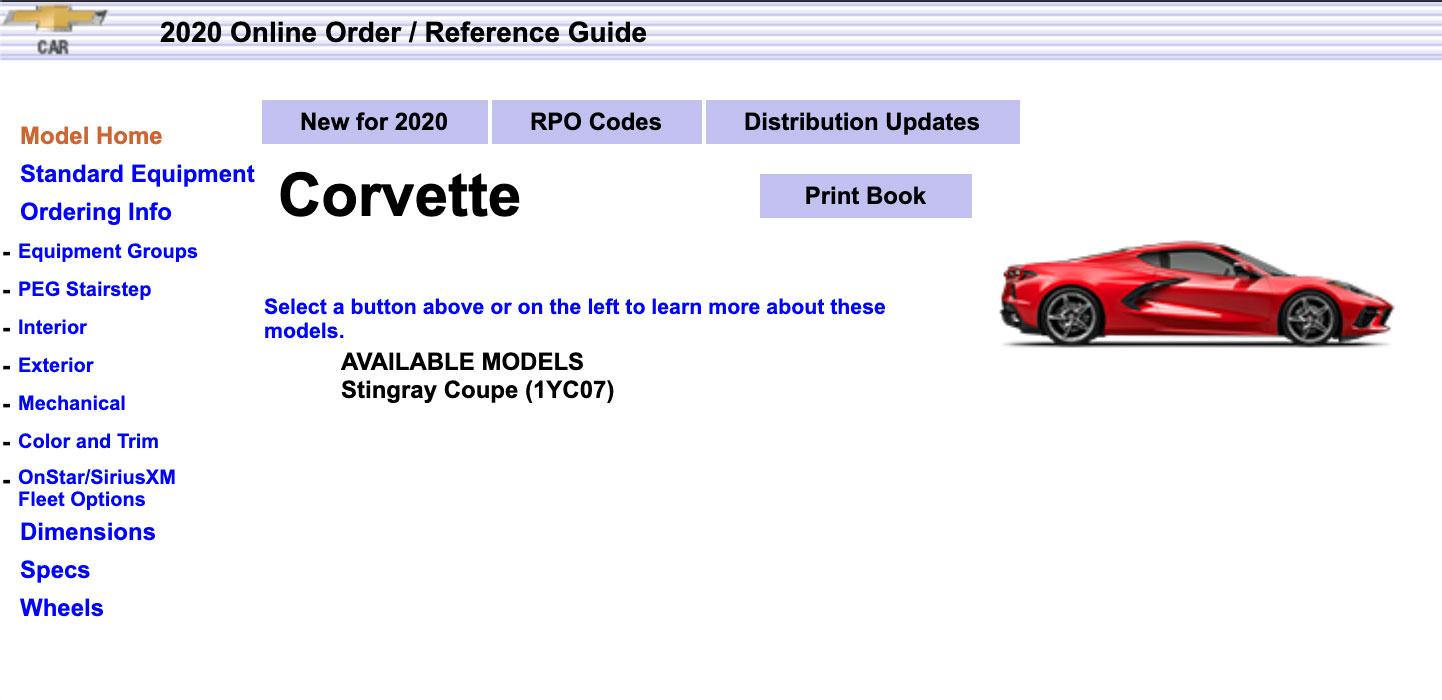 2020 Corvette Stingray order guide