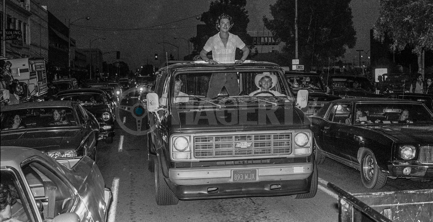 """On 10th Street in downtown Modesto, a dashing blond youth pops up out of a Chevy van, clearly a mobile party pad for him and his buddies. """"The velour carpet and the tiger print showed how much ego these kids had,"""" Golub recalls. """"Really, they were ranchers and farmers."""" At the time, the Modesto area produced a fourth of the world's peaches."""