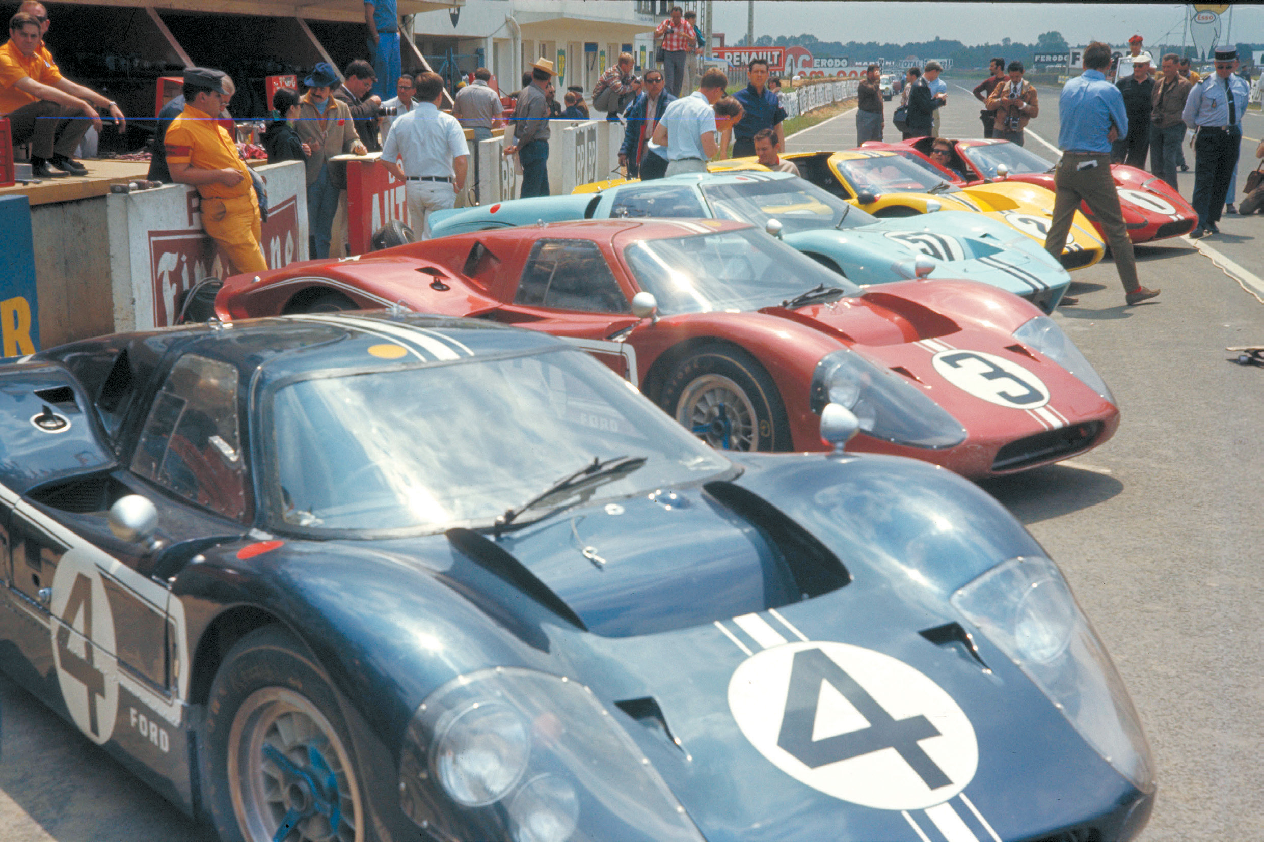Another view of the Ford team showing all four Mark IVs and the Shelby American Mark II.