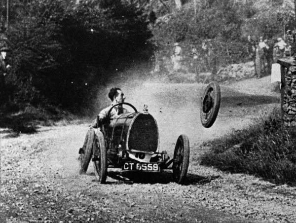 Raymond Mays had plenty of good days at Shelsley Walsh—he won 20 times there—but this day wasn't one of them. His Bugatti Type 13 Brescia loses a wheel in 1924.