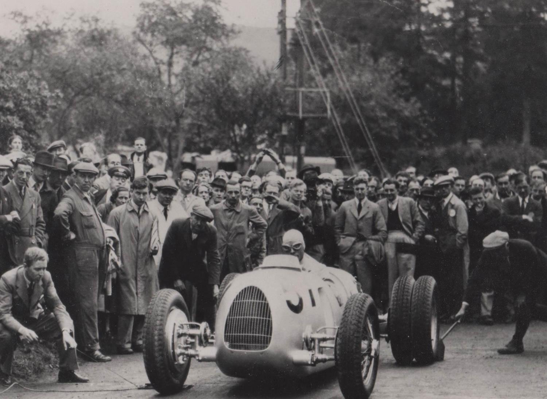 Hans von Stuck in his Auto Union V-16 Grand Prix car at the start line on June 6, 1936