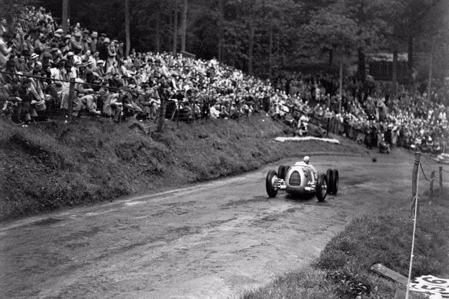 Hans Stuck, in an Auto Union Grand Prix car, challenges the Shelsley Walsh Hill Climb in June 1936.