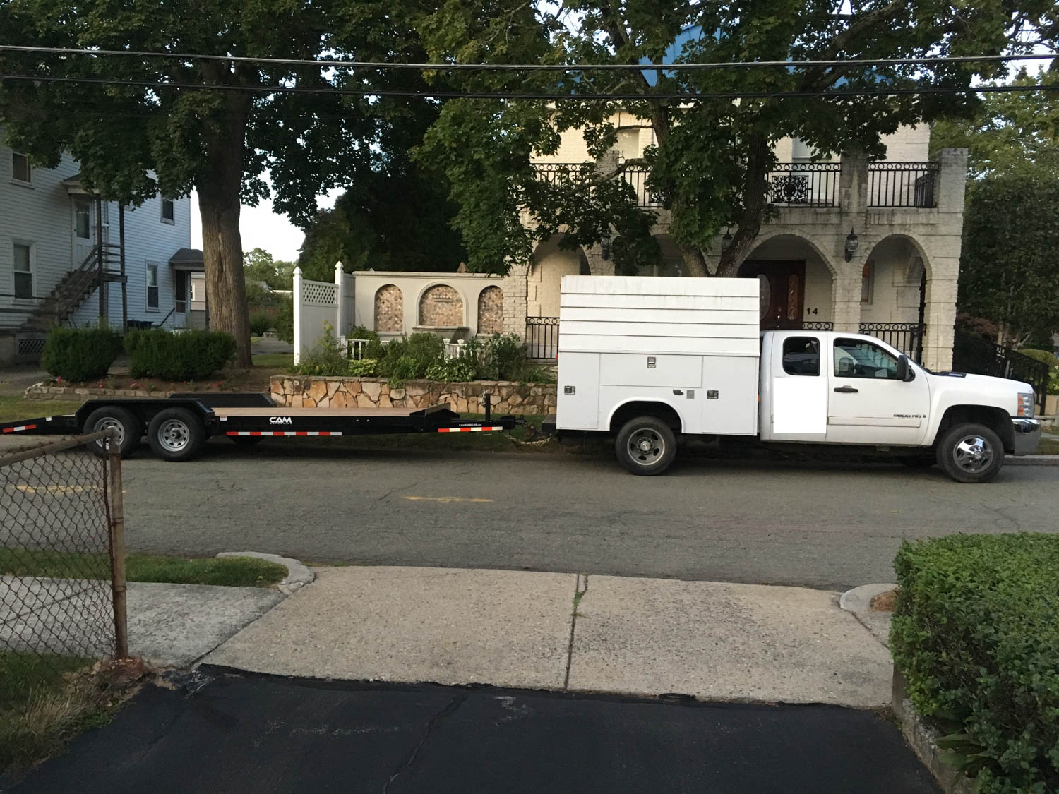 The borrowed truck and trailer ready for early morning launch.