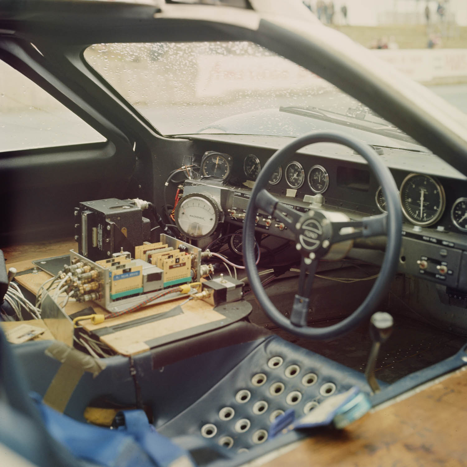An interior view of a Ford J-car, which set the fastest lap time in Le Mans testing ahead of the 1966 race. Note the instruments for data gathering.