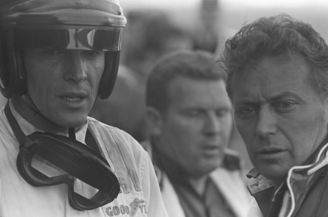 Dan Gurney (in helmet) and Phil Remington (far right) were a formidable team for Ford. Gurney was one of the best all-around drivers of his era, and Remington was the most talented fabricator in road racing.