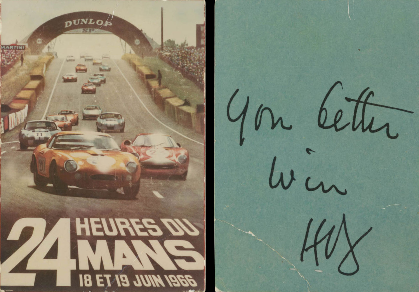 """A """"motivational"""" note for motorsports manager Leo Beebe on the back of a """"24 Heures du Mans"""" card"""