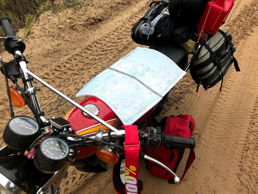 map on vintage kawasaki motorcycle
