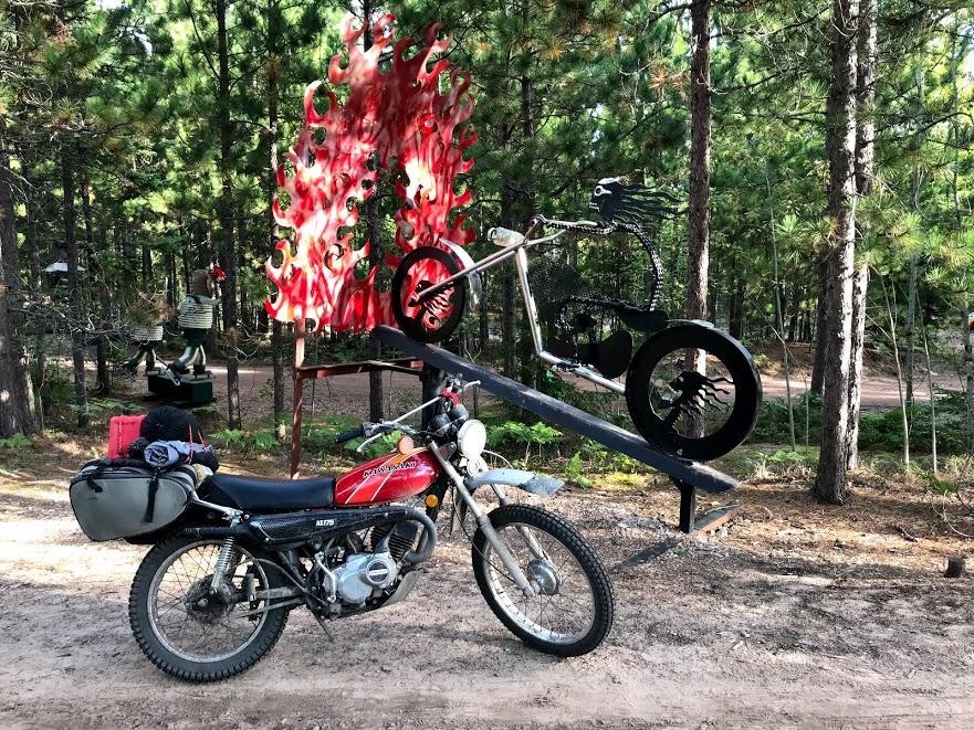 vintage kawasaki motorcycle at sculpture park