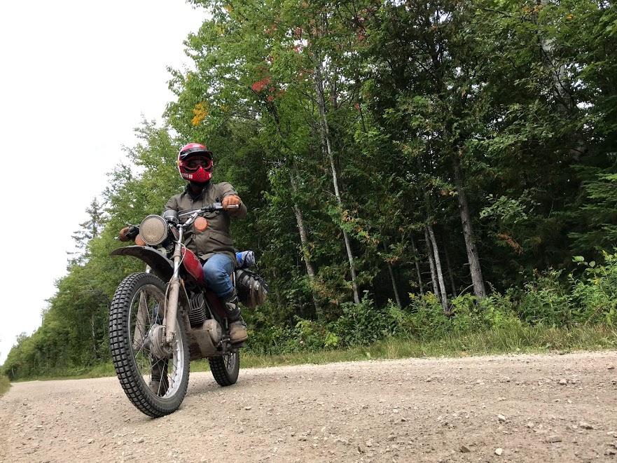 rider on vintage kawasaki motorcycle