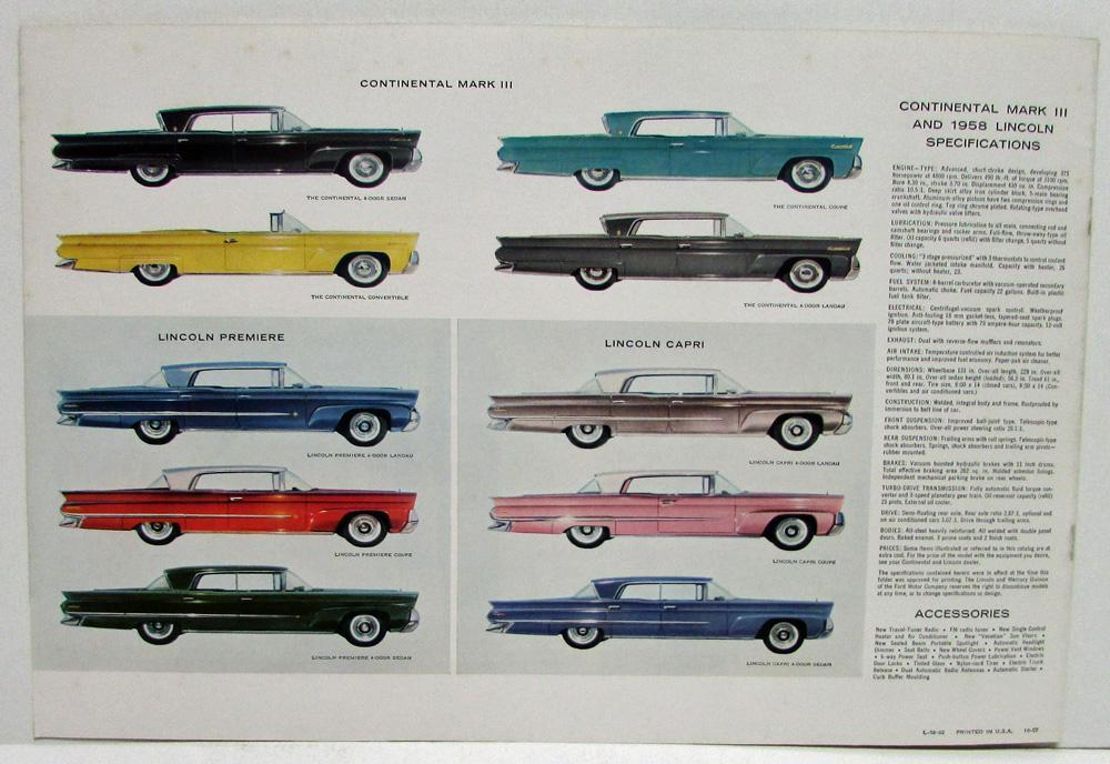 1958 Lincoln and continental vehicle specs