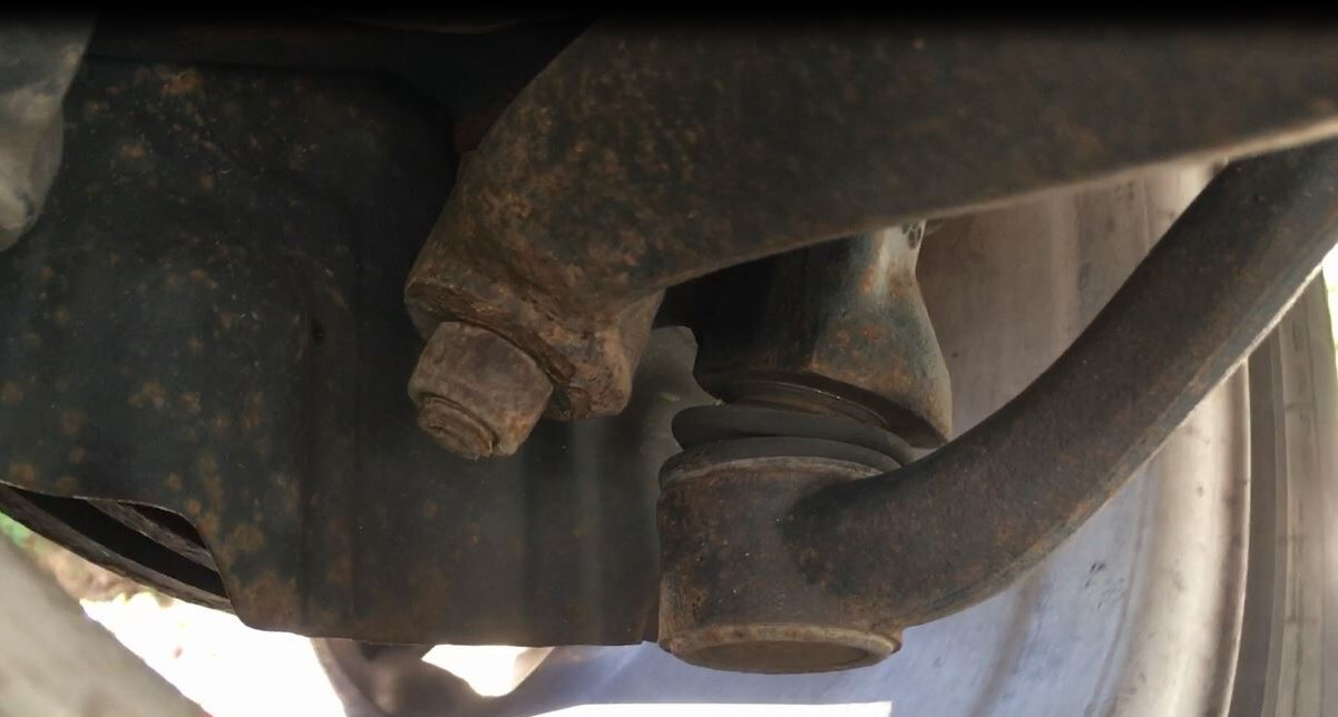 The bad ball joint on the lower control arm.