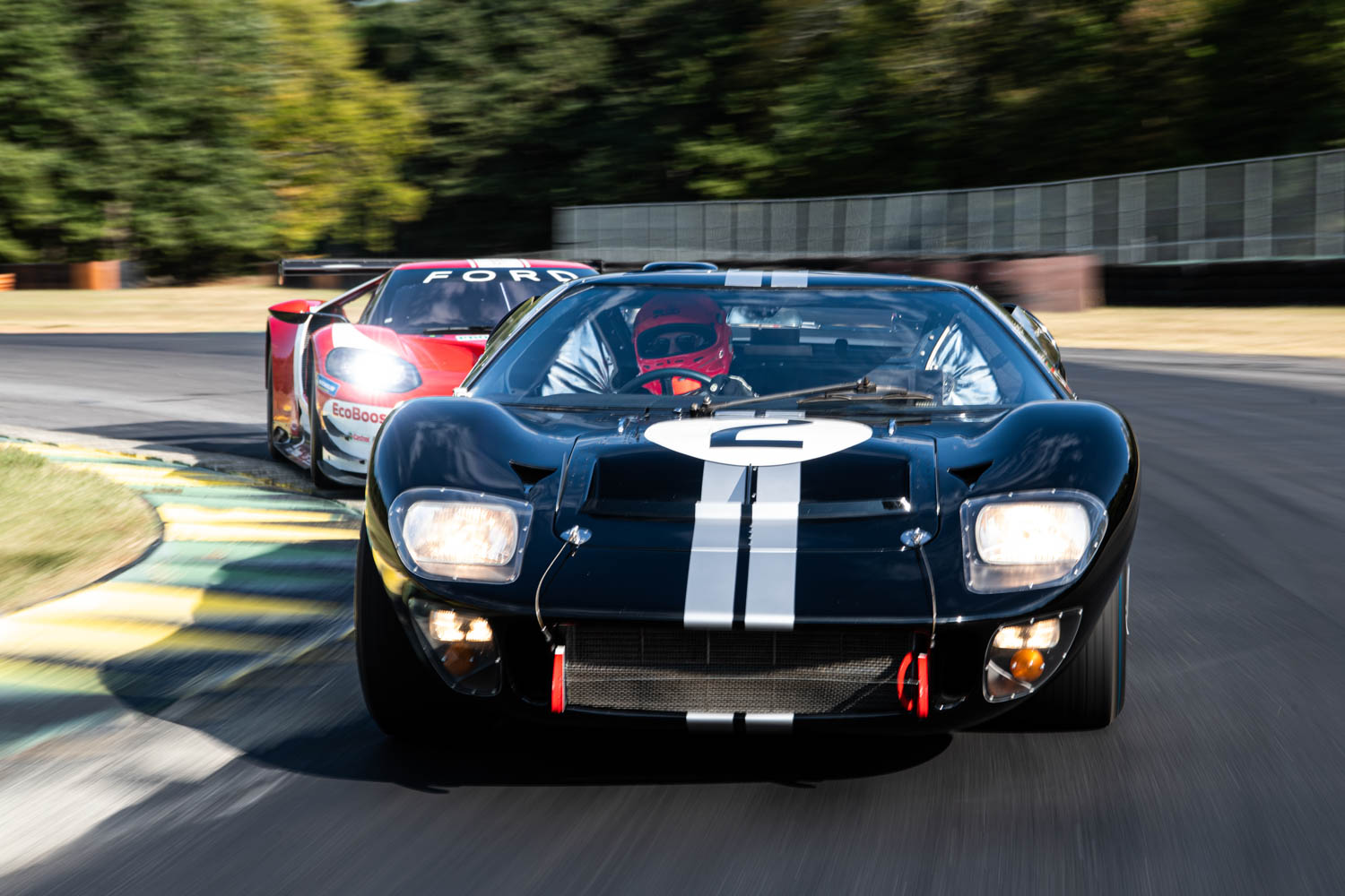 The 1966 GT40 leads the 2016 GTLM at Virginia International Raceway.