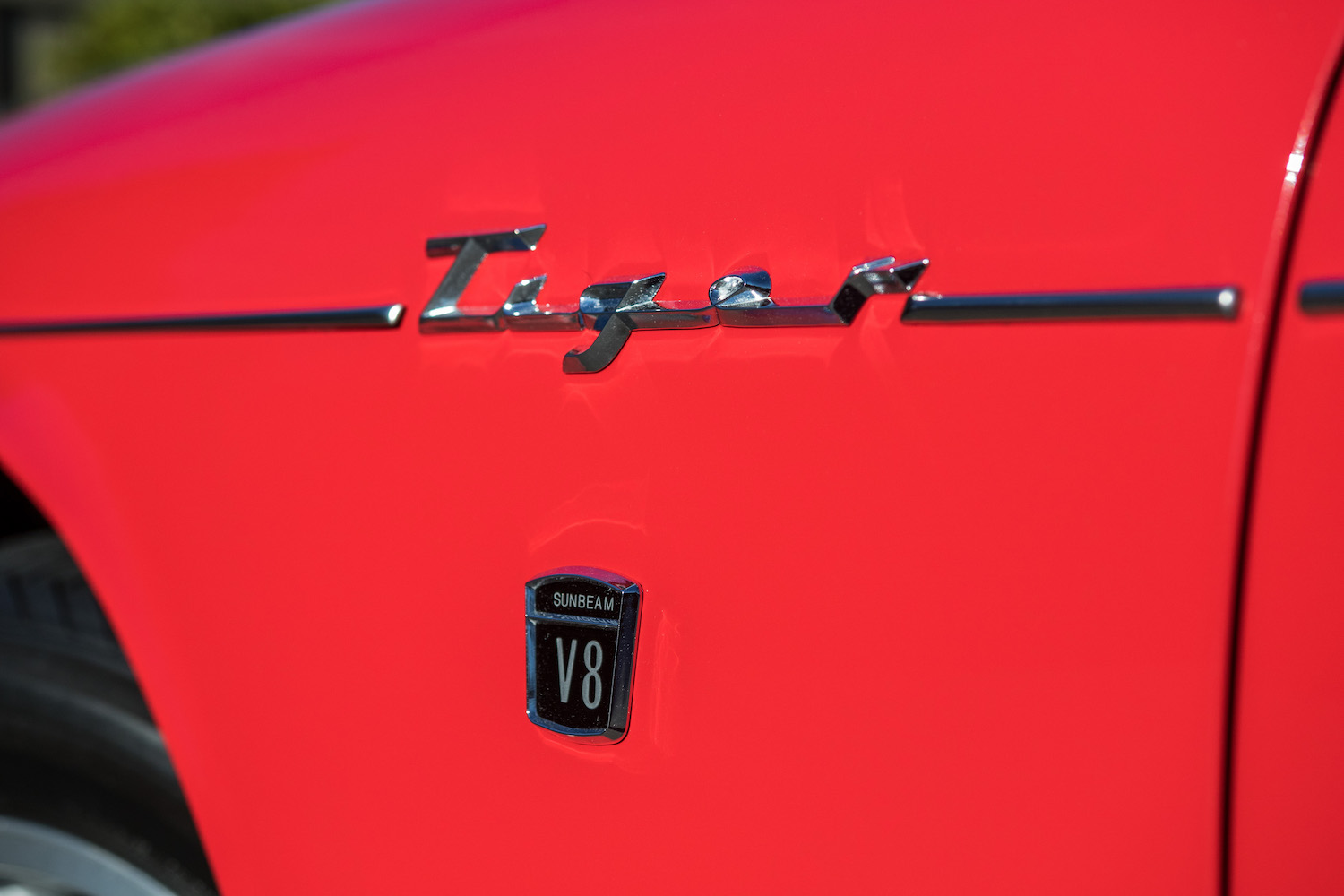 red sunbeam tiger rear front side panel decal detail