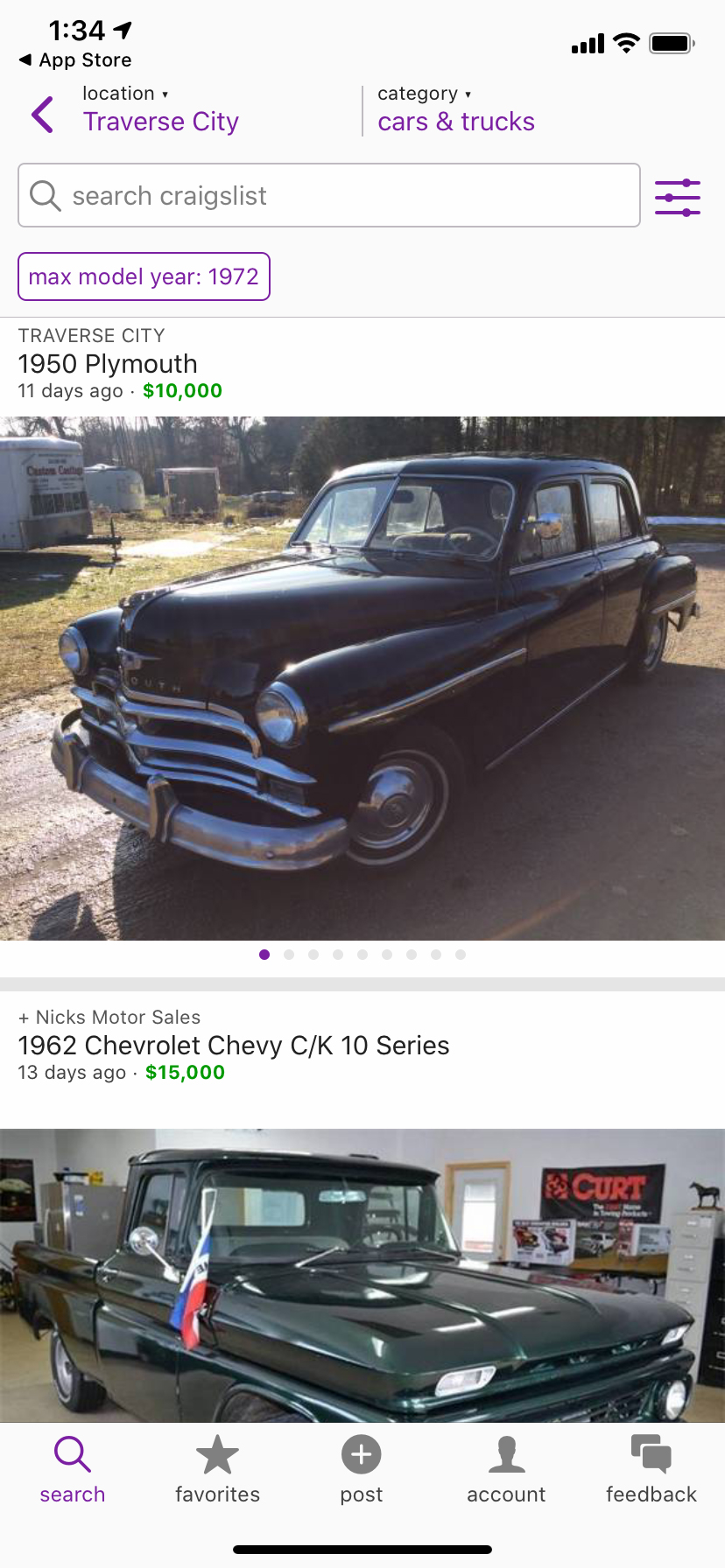 Craigslist cars trucks local listings page