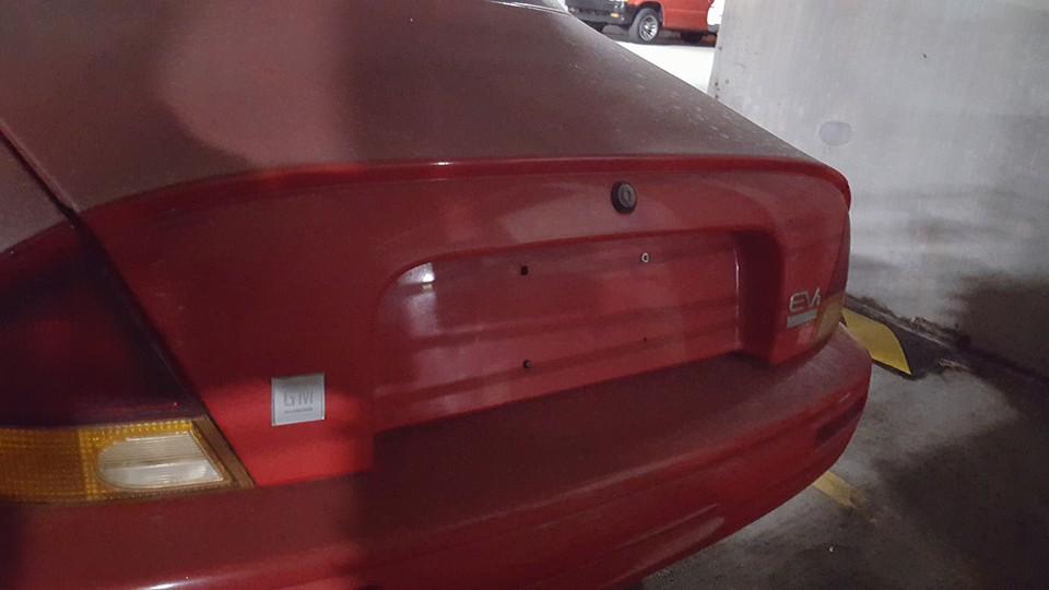 EV1 car in parking garage