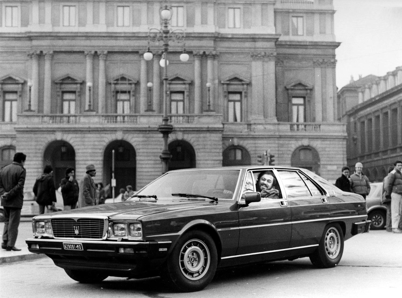 president luciano pavarotti rides in quattroporte 1985