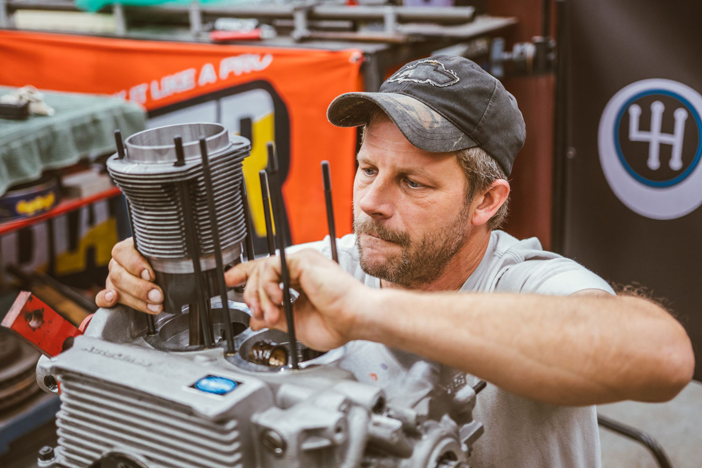 Davin Reckow working on an engine