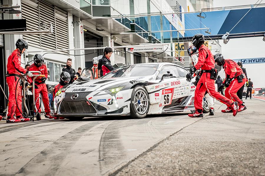 lexus front three-quarter in pits at nurburgring