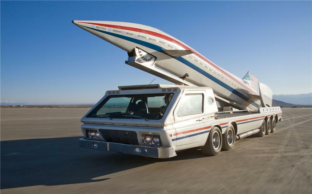 front three-quarter rocket car hauler