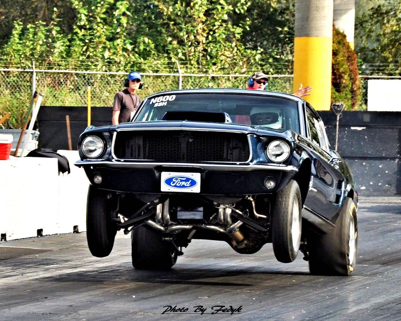 mustang on rear wheels front three-quarter
