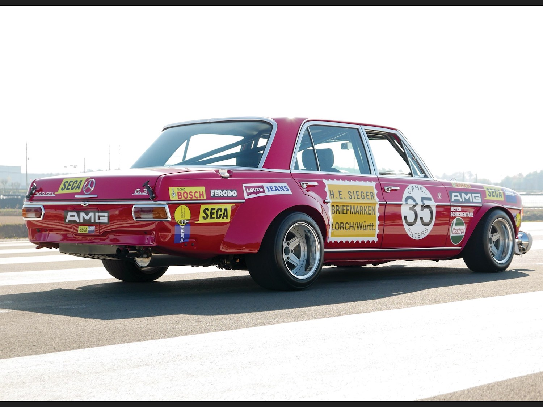 1969 Mercedes-Benz 300 SEL 6.3 'Red Pig' Replica rear three-quarter