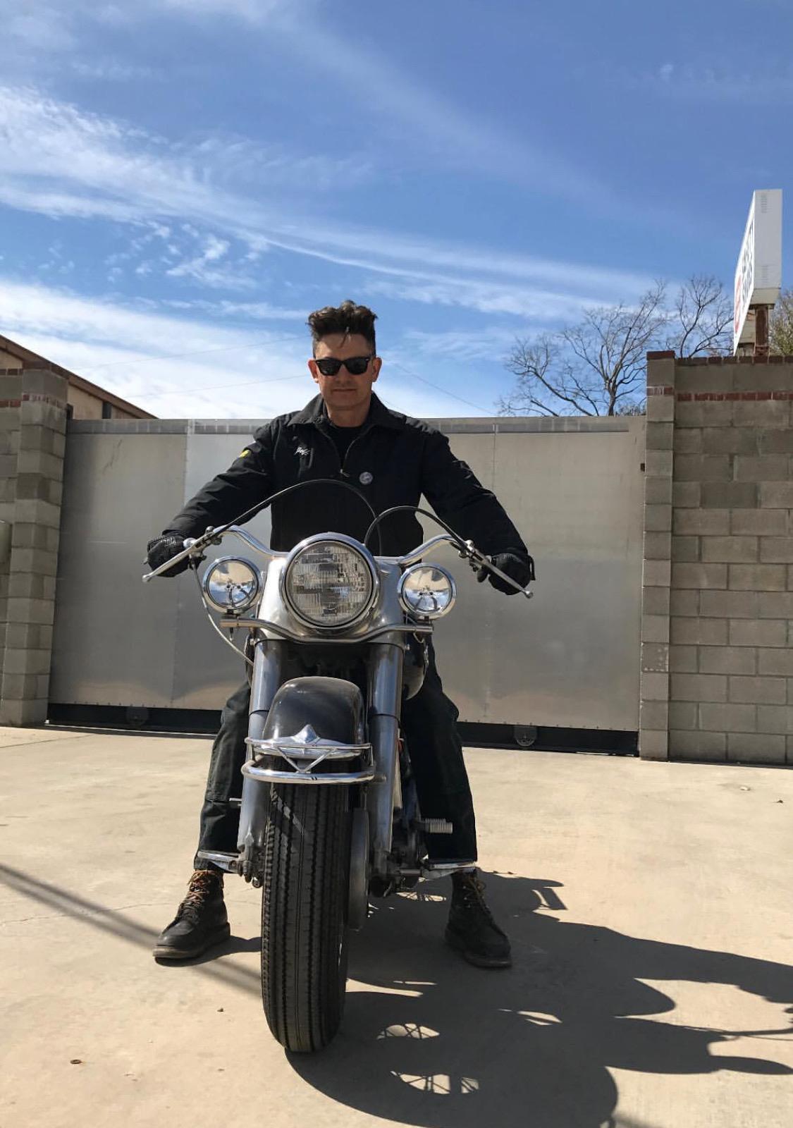 milburn on motorcycle