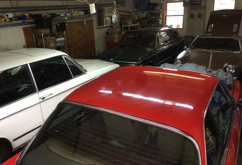 vintage cars in garage