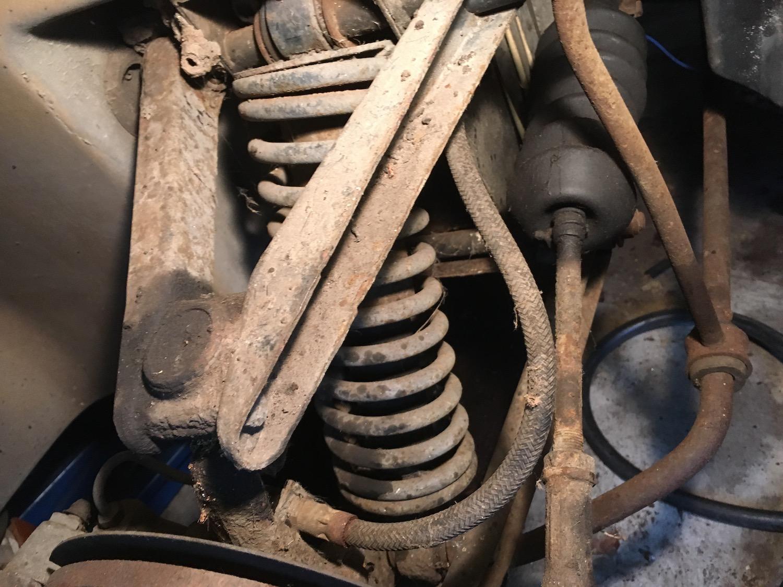 vintage car suspension closeup