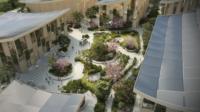 toyota city courtyard garden aerial