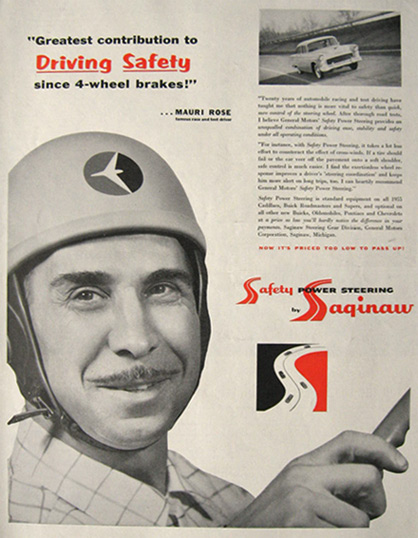 saginaw power steering ad featuring mauri rose