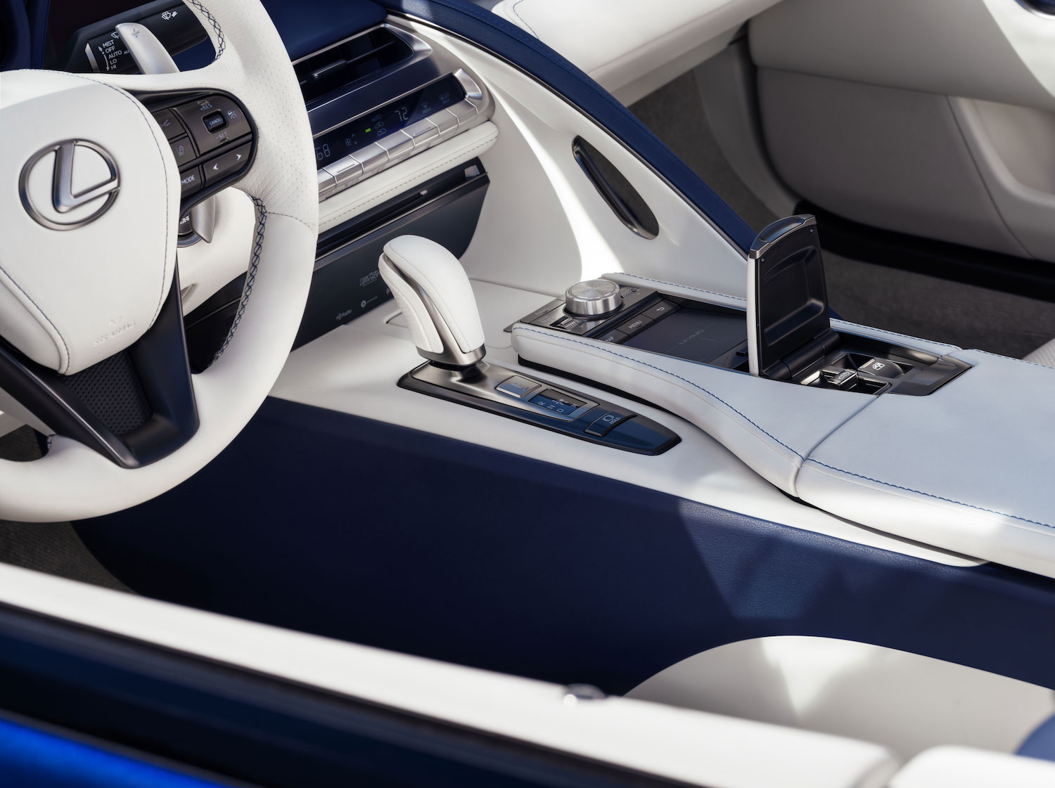 interior center console and shifter close-up