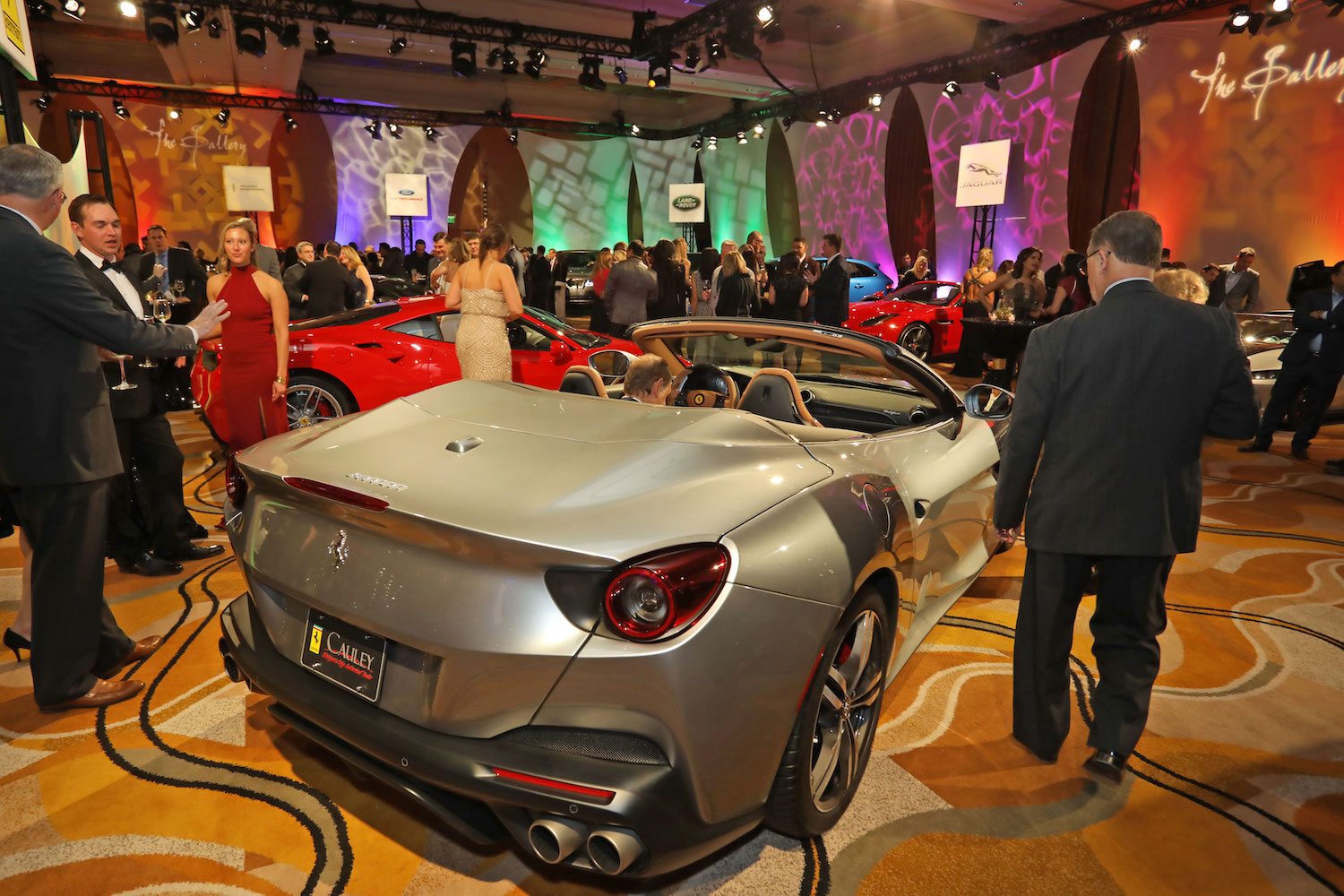 electric car on display at auto show