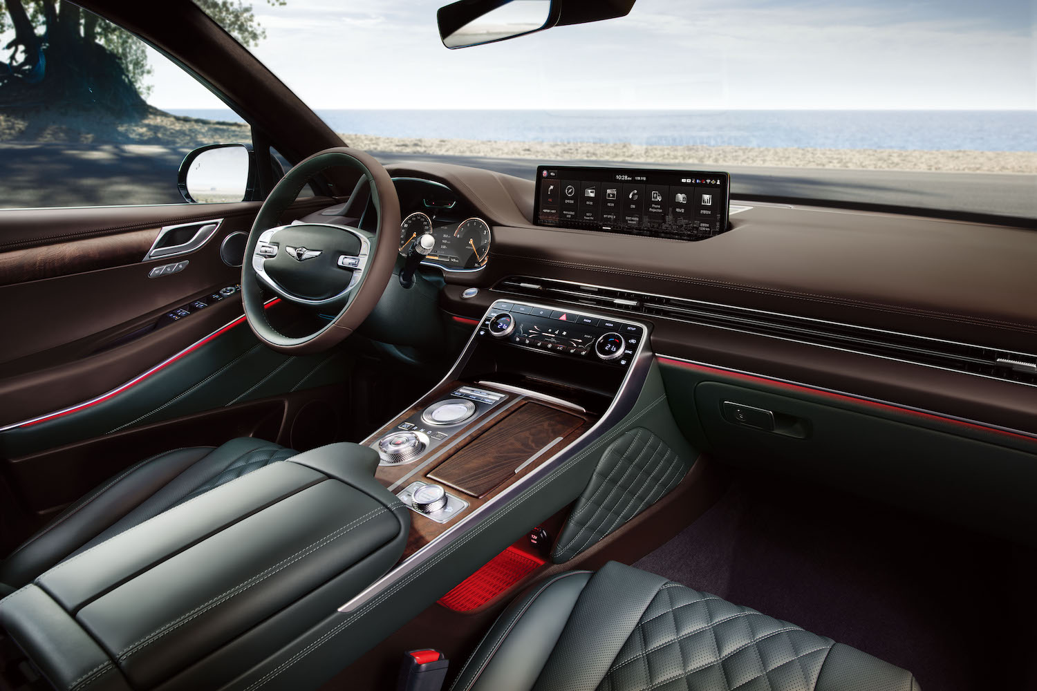 green and brown leather interior