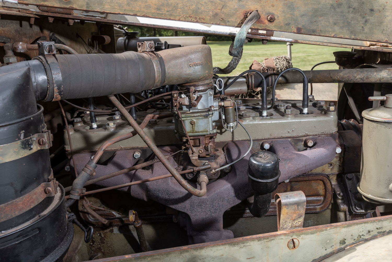 The 386-cubicinch White 160AX six-cylinder engine still had oil in it when Koloc found it. Following a rebuild, its 128 horses can propel the 10-ton machine to about 40 mph.