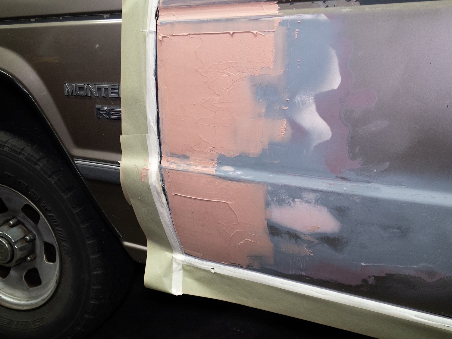 body filler on door panel