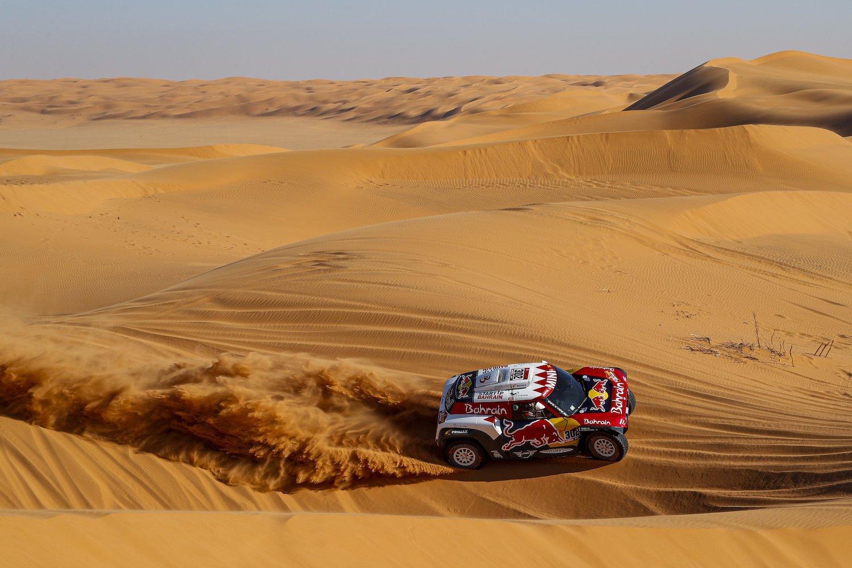 rally car on desert sand action