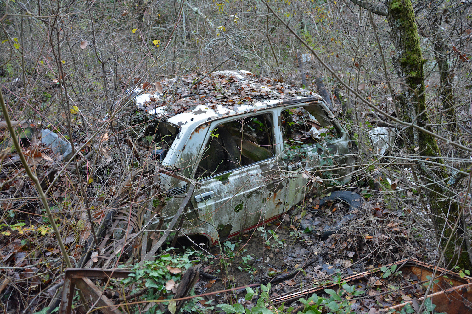 abandoned old car front