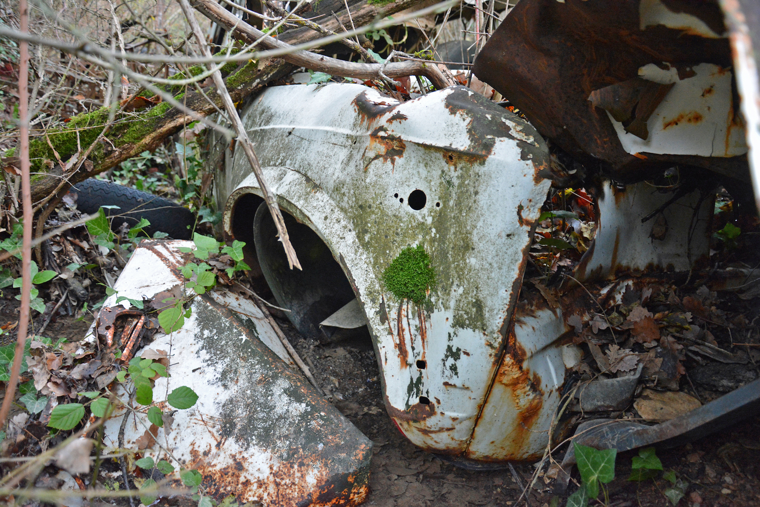 abandoned buried old car body close-up