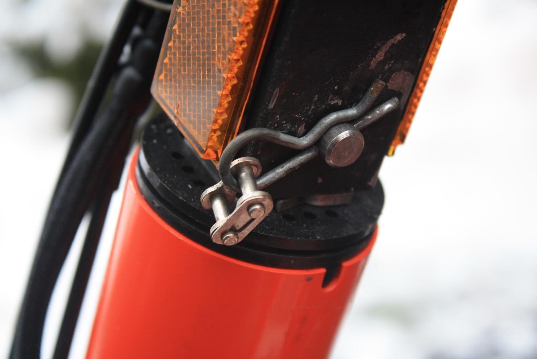 snow bike pin clip close-up