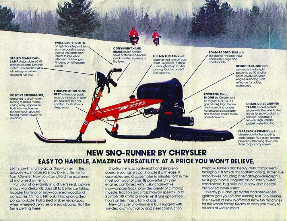 snow bike by chrysler ad