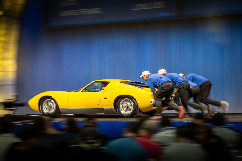 1969 Lamborghini Muira pushed off stage
