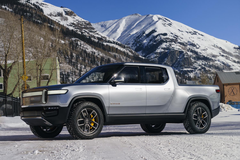 silver rivian truck side-view