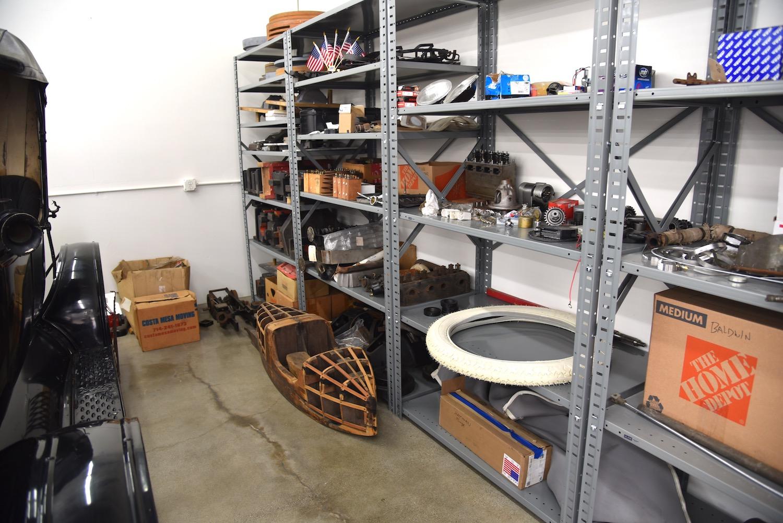 parts on garage shelves