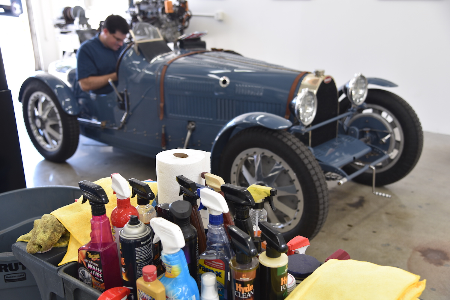 shop detailing products bugatti in background