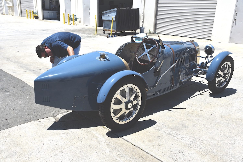 vintage bugatti roadster rear three-quarter