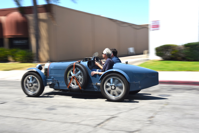 old bugatti in motion
