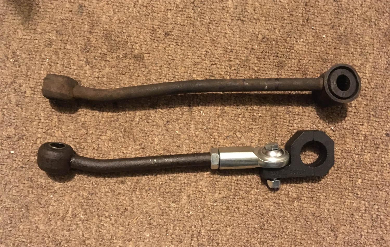 Original (top) and adjustable front sway bar links.