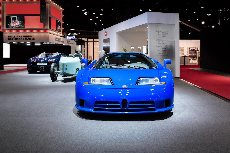 vintage bugatti front on display