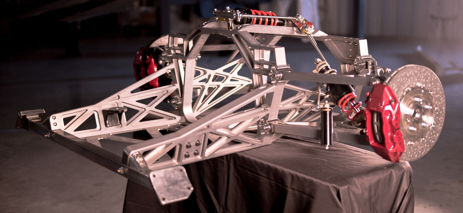 hypercar suspension chassis on stand